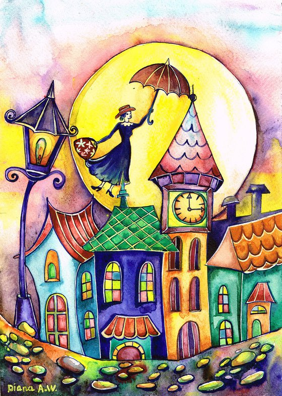 MARY POPPINS ORIGINAL PAINTING, FANTASY, GIFT IDEA. COLOURFUL HOUSES, LONDON, COLOURFUL LONDON, LANDSCAPE, ABOVE THE CITY 4