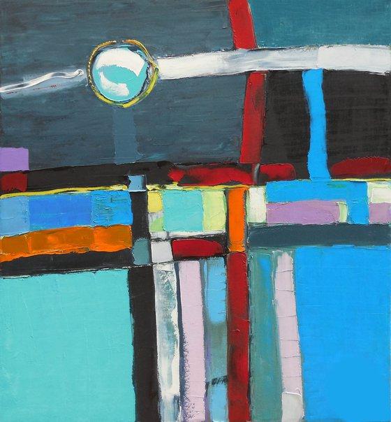 Lunar orbit - palette knife impasto painting impressionistic alla prima original artwork large vertical moon landscape