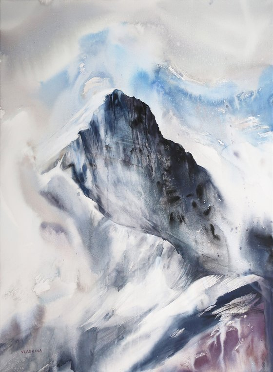 Mountains in the clouds. 55*75 cm. Abstract watercolor landscape.