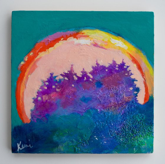 """Coronation Day 10x10"""" Colorful Abstract Tree Painting Original Landscape"""
