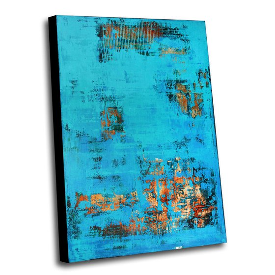 BIARRITZ - 120 X 80 CMS - ABSTRACT PAINTING TEXTURED * TURQUOISE * GOLD * BLUE