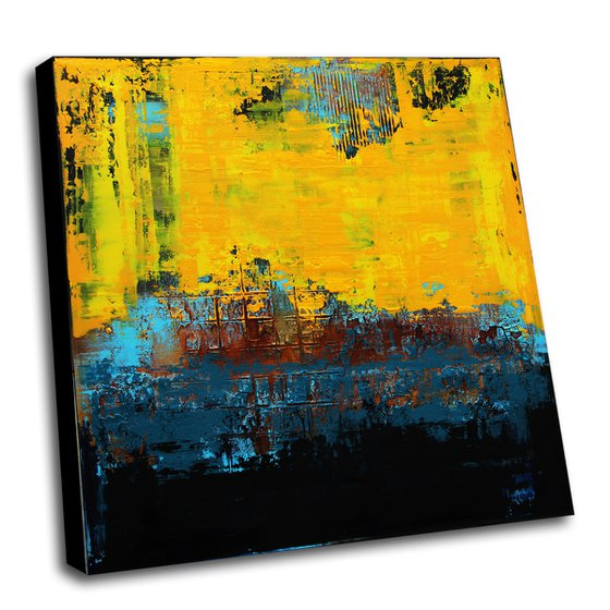 """MIDSUMMER 39.4"""" x 39.4"""" -  HUGE ABSTRACT PAINTING TEXTURED * BLUE YELLOW"""