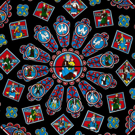 Chartres Cathedral Rose Window - Framed Acrylic Gouache Painting