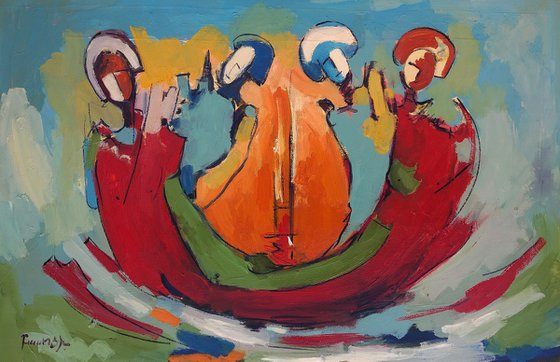Abstract - Quartet (60x40cm, oil painting, ready to hang)