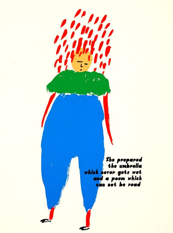 She prepared the umbrella