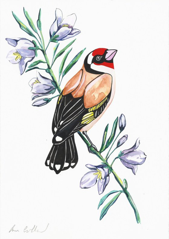Goldfinch and Bellflower