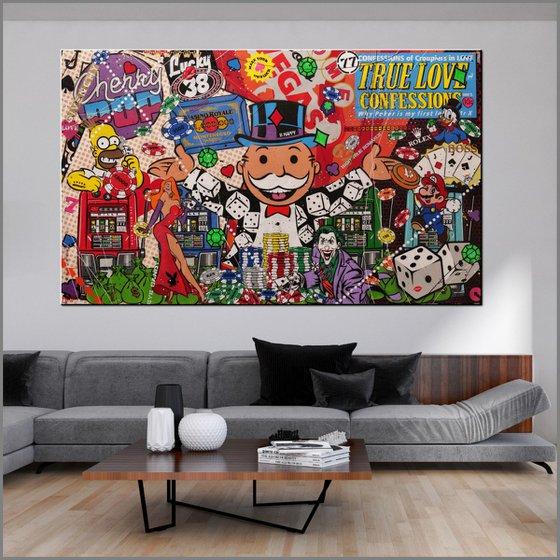 The Monopoly Gambler 250cm x 150cm Monopoly Man Urban Pop Art