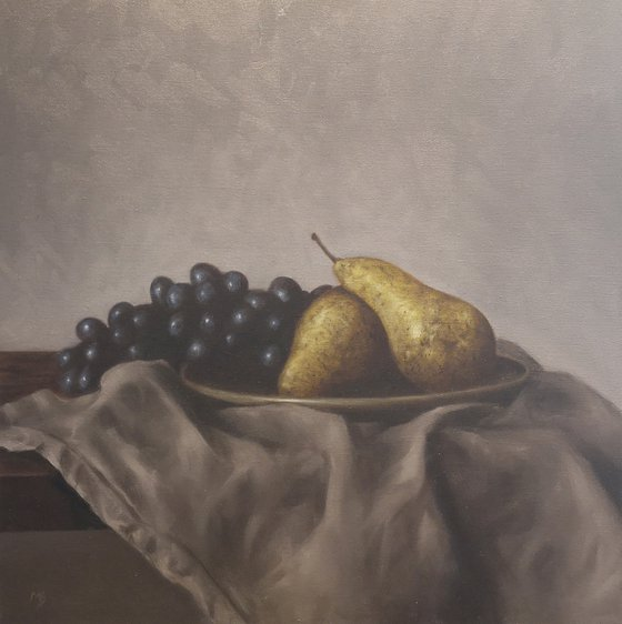 Pears and grey cloth