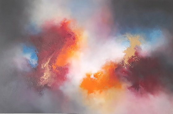 ORGANISED CHAOS V (Large abstract cloudscape/seascape oil painting)