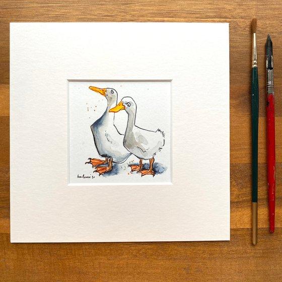 ' Duck Mates #02' - mini painting of two white ducks
