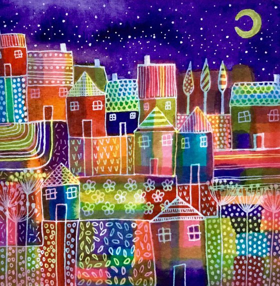 Rainbow City, small watercolour abstract painting