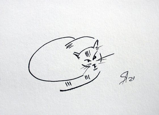Cat portrait VII.  From my a series of LIVE LINE /  ORIGINAL PAINTING