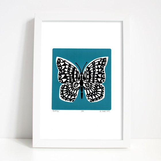 Butterfly in Slate Teal - Framed - FREE UK Delivery