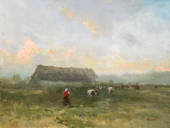 Farm, Original oil Painting, Handmade artwork, Signed, One of a Kind