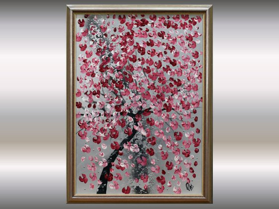 Last Spring -  acrylic abstract painting. cherry blossoms, nature painting, framed canvas wall art