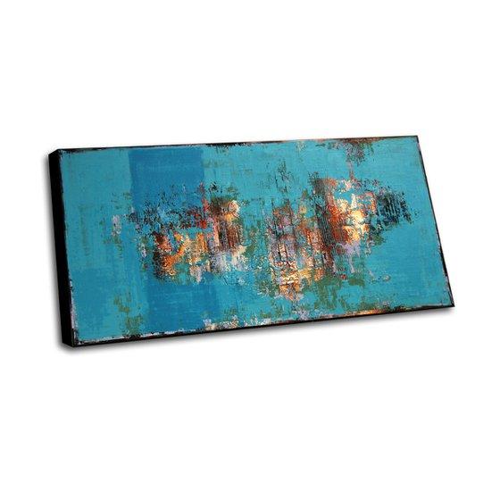 RIO CELESTE - 160 x 80 CMS - ABSTRACT TEXTURED ARTWORK ON CANVAS