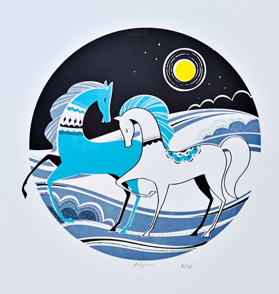 Galloping Horses Wall Art Silkscreen Art Print
