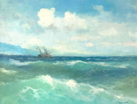 Cobalt Waves, Original oil Painting, Handmade artwork, Museum Quality, Signed, One of a Kind