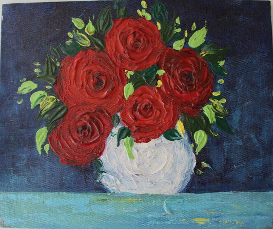 Red Roses- Impasto palette knife acrylic painting on a canvas board - textured floral still life artwork