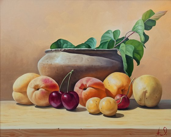 Still life with apricot and cherry (40x50cm, oil painting, ready to hang)