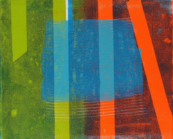 Between the Lines  - Modern Abstract Painting - framed