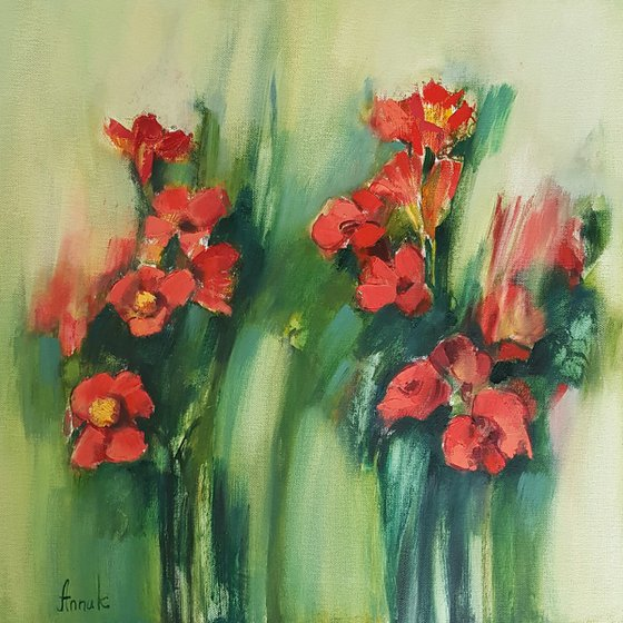 Red flowers (50x50cm, oil painting, ready to hang)