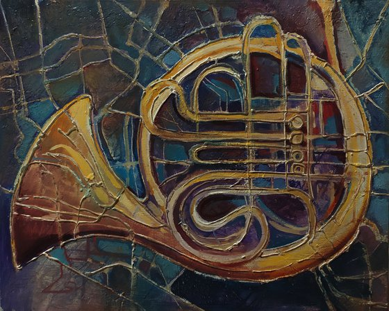 Jazz (50x40cm, oil painting, ready to hang, framed)