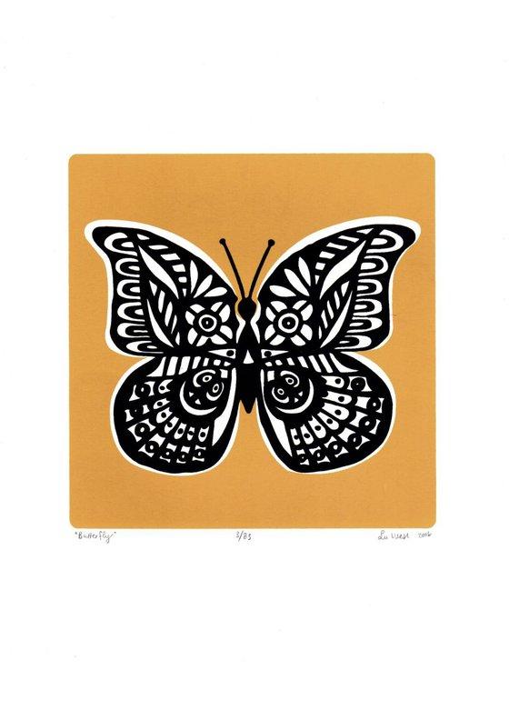 Butterfly in Saffron Yellow - Unframed - FREE Worldwide Delivery