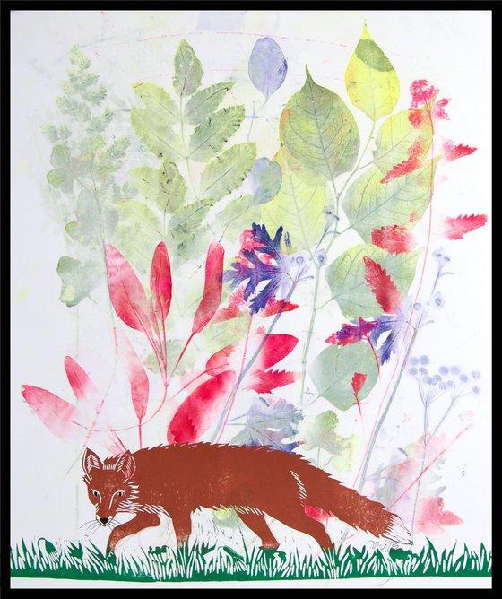 Red Fox, linocut w mixed media