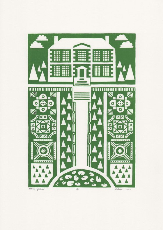 Manor Garden Screen Print A3 size in Heritage Green - Unframed - FREE Worldwide Delivery