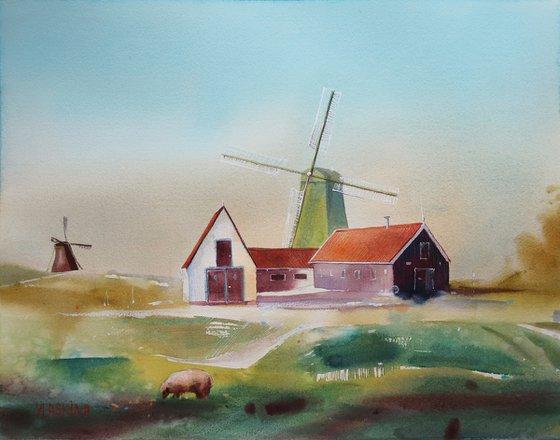 Windmill in Zaanse Schans - the Netherlands - Watercolor landscape