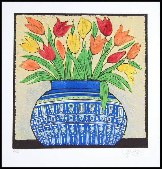 Tulips in a blue bowl, linocut reduction,