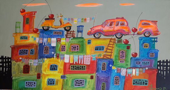 Childhood dreams-32 (40x75cm, oil painting, modern art, ready to hang)