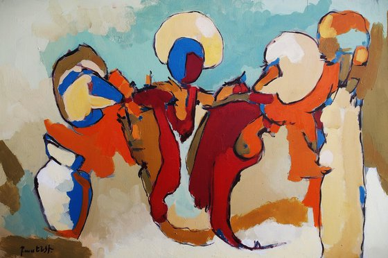 Abstract - Figures (60x40cm, oil painting, ready to hang)