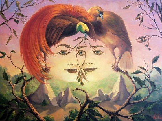 The paradistical's unity 60x80cm, oil painting, surrealistic artwork