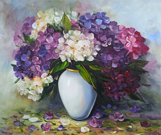 Purple and white flowers (60x50cm, oil painting, ready to hang)