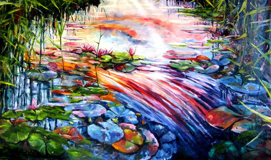 Water mirror with water lily -XXL size /120 x 200 cm