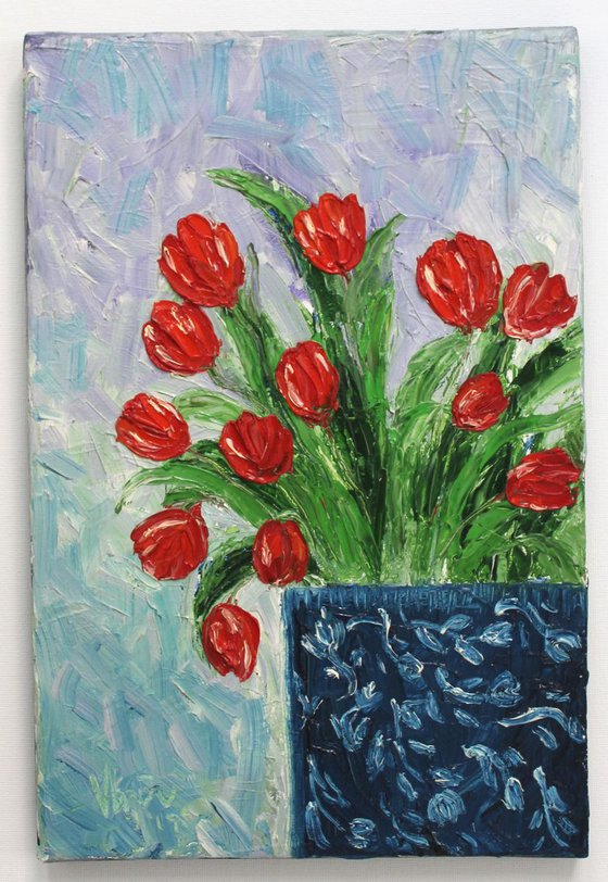 Enchanted Tulips- Still life Oil painting on stretched canvas - Wall art - Floral art