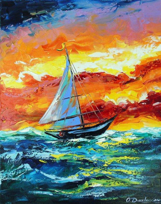 Sailboat and storm at sea