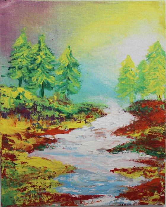 Do(ubt)- Non-dorminant hand - Impressionistic Landscape Painting - mini painting