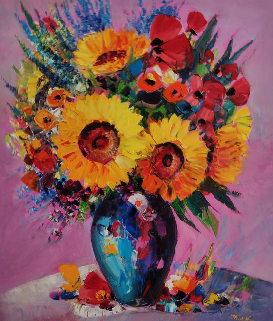 Field flowers in vase (60x70cm, oil painting,  ready to hang)
