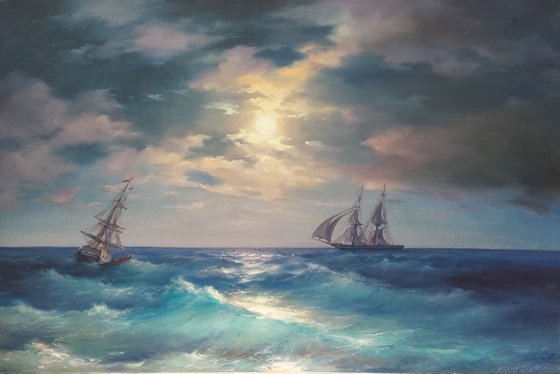 luminous night(60x90cm, oil painting)