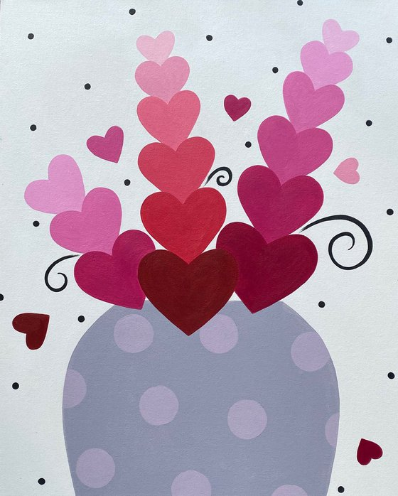 Pink Heart Stems with Polka Dot Vase