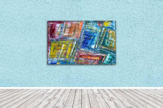 """""""Tripping The Life Prismatic"""" - Original PMS Oil Painting On Reclaimed Wood - 44 x 28 inches"""