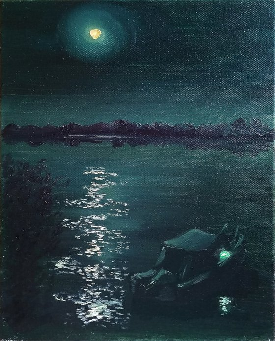 Moonlight night over the river.