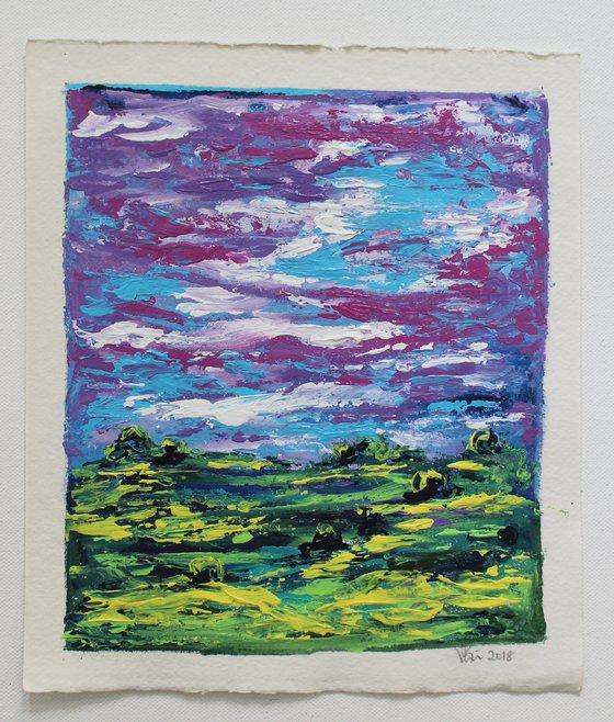 Violet sky - Impressionistic Magical Landscape acrylic painting on Handmade Paper - palette knife artwork