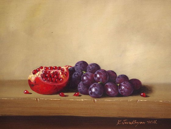 Still Life with Grapes, Fruits, Pomegranate, Original oil Painting, Classic Art, Handmade painting, signed