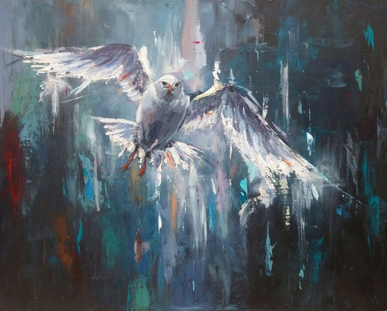 """""""Flight out of the night"""" ,acrylic on canvas, 50x40cm, (19.7''x15.7'')"""