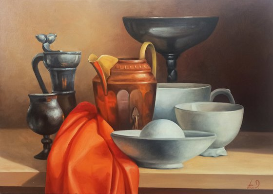 Still life-kitchen-2 (40x60cm, oil painting, ready to hang)