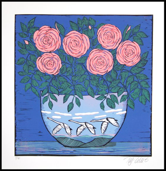 Roses and Swans, linocut reduction
